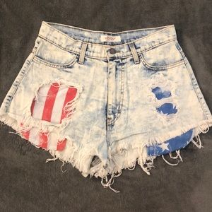 American Flag Distressed High-Waisted Shorts